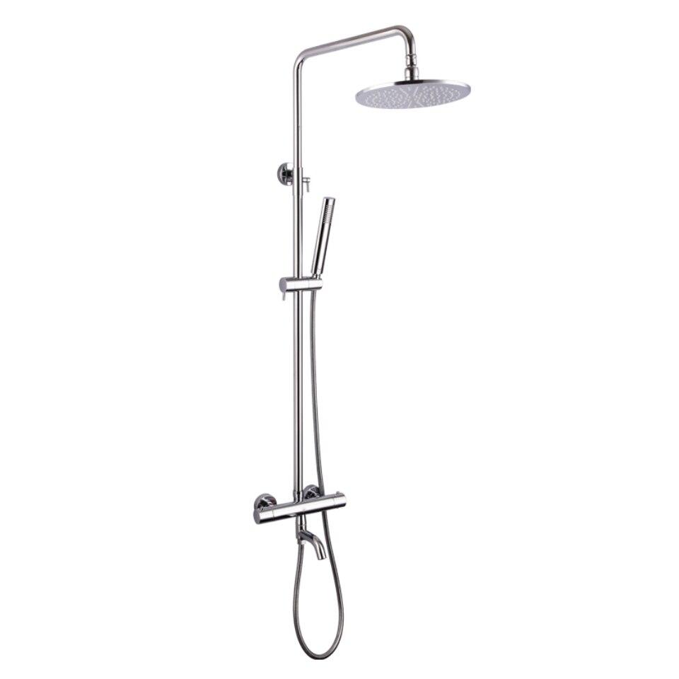 Bec de baignoire en laiton 10 pouces rond LED sensible à la température pomme de douche thermostatique exposé bain douche robinet ensemble - 3