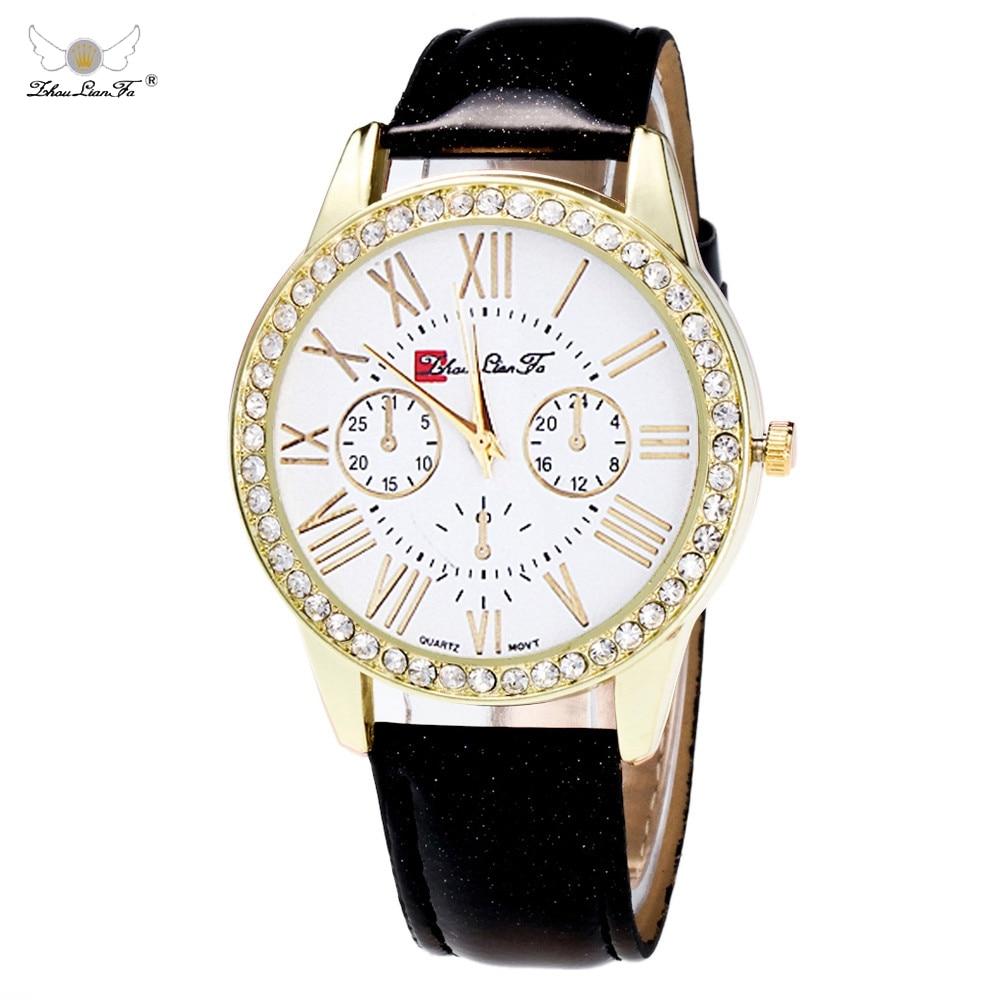 Zhou Lian Fa 2020 Hot Sale Luxury Fashion Leather Watch Candy Colors Rhinestone Dress Quartz Watch Women Men Reloj Relogio New