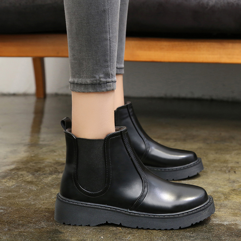 6dce4d2c274 US $24.98 |2018 Winter Boots Women Chelsea Boots Platform Shoes Woman Boot  Black Low Heels Boots Ladies Booties botas mujer 6837-in Ankle Boots from  ...