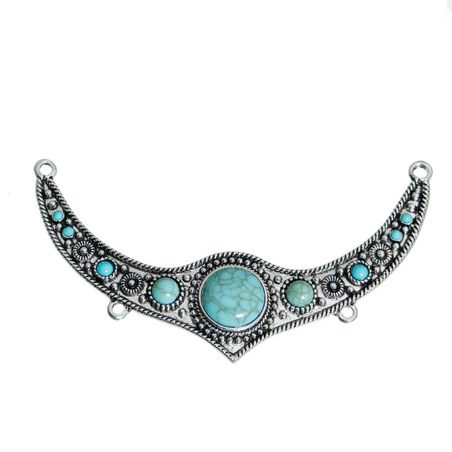 Doreenbeads Zinc Alloy Konr Temuan Tanduk Bohemia Warna Hijau Imitasi Turquoise Berbentuk Antique Perak 11 5x6