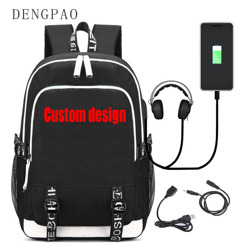 DENGPAO Custom Design Letter Loptop Backpack with USB Charging Fashion School Bags for Teenage Girls Boys
