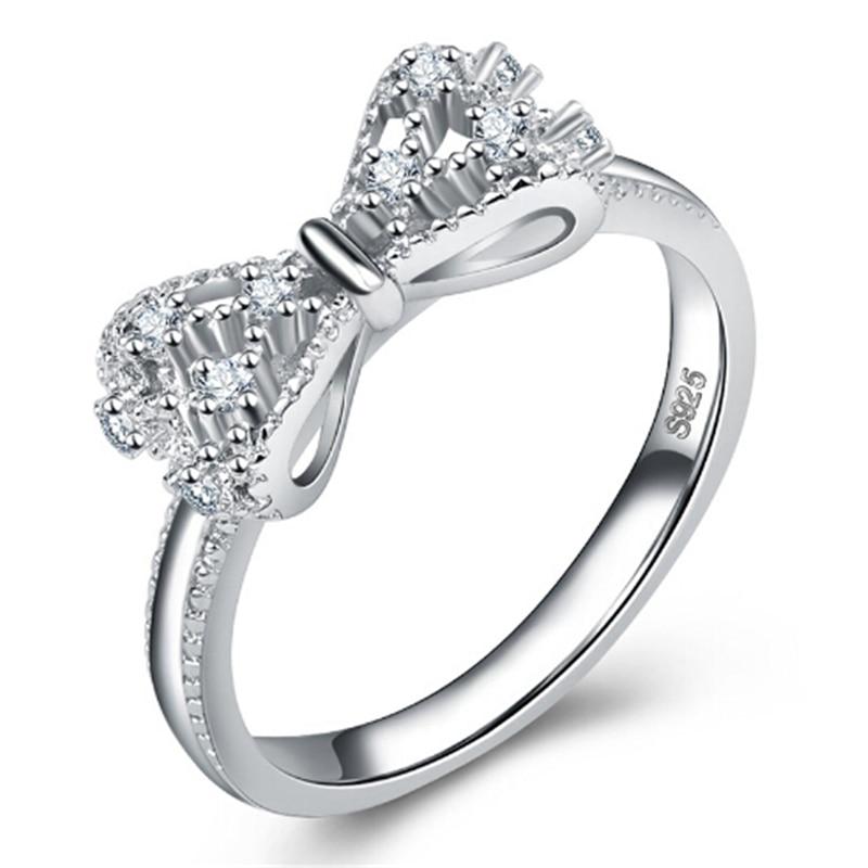 Zoshi Weiß Kristall Ringe Für Frauen Bogen Zirkonia Schmuck Vintage 925 Sterling Silber Ring Steine Valentinstag Geschenke Geschickte Herstellung Schmuck & Zubehör