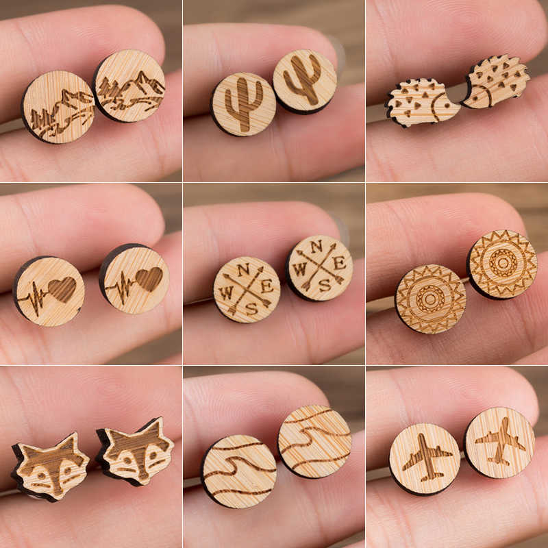 Jisensp Vintage Wood Plant Earrings for Women Metal Earing Trendy Hedgehog Compass Heart Stud Earring Piercing Jewelry Wholesale
