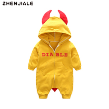 Rompers for child boys Cartoon demon  Hoodie Clothes Toddler rompers Swimsuit Boy Pullover Siamese Cotton Lengthy sleeved jumpsuitAFD10