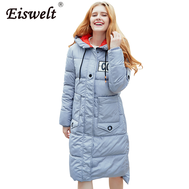EISWELT Winter Jacket Women Mid-Long Warm Hooded Fur Pocket Cotton Padded Parkas Sweat Girls Cold Outwear Jacket M-2XL Wc55 2017 new solid winter jacket women hooded coat cotton padded parkas long warm sweat girls cold outwear female down jacket m 3xl