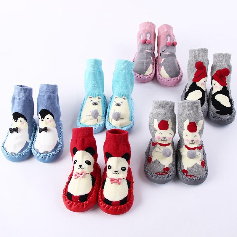 Зимние Детские малышей Нескользящие полусапожки обувь для помещения носки с резиновой Мокасины Тапочки теплые длинные Детские носки детск...