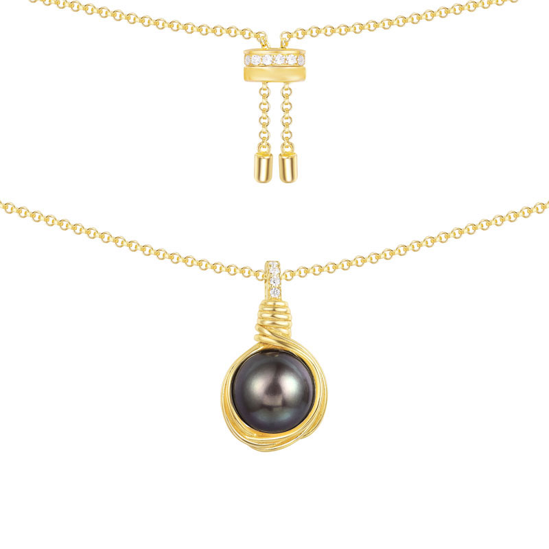 SLJELY Luxury Real 925 Sterling Silver Gold Color Intemporel Grey Pearl Pendant Necklace Cubic Zirconia Women