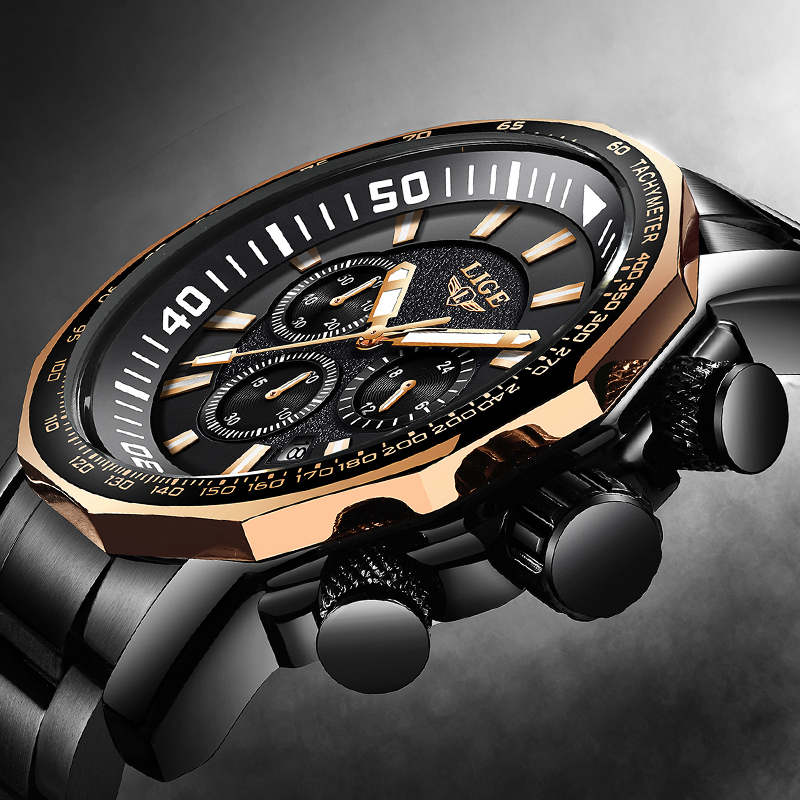 2018 LIGE Brand Luxury Mens Watches Fashion Quartz Clock Men's Stainless Steel Military Waterproof Sport Watch Relogio Masculino image