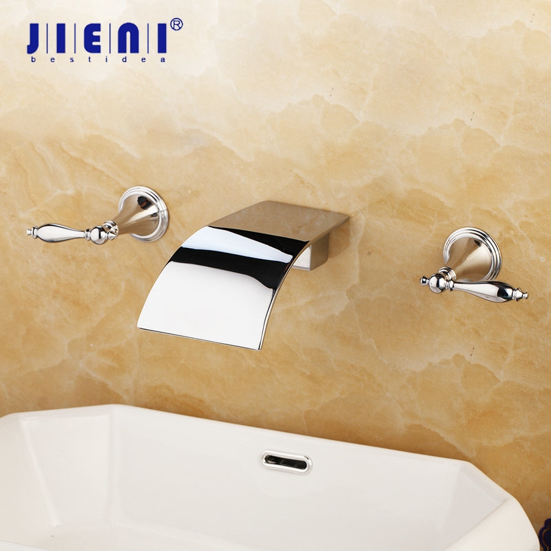 JIENI Solid Brass Waterfall Wall Mounted Polished Chrome Bathtub Shower Bathroom Basin Sink Brass Tap Mixer