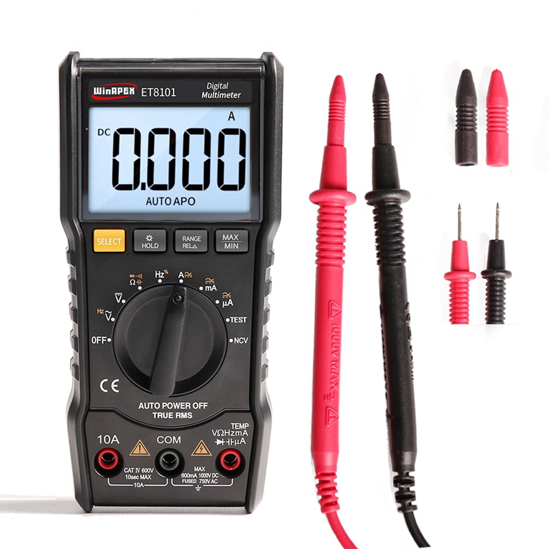 WINAPEX Digital Multimeter Tester 3 5/6 1000V 10A AC DC 6000 Counts True RMS Digital Voltmeter Ammeter Ohm LCD Portable Meter pegasi 30pcs set allen key sae and metric size hexagonal wrench chrome vanadium tools set universal wrench hexahedron