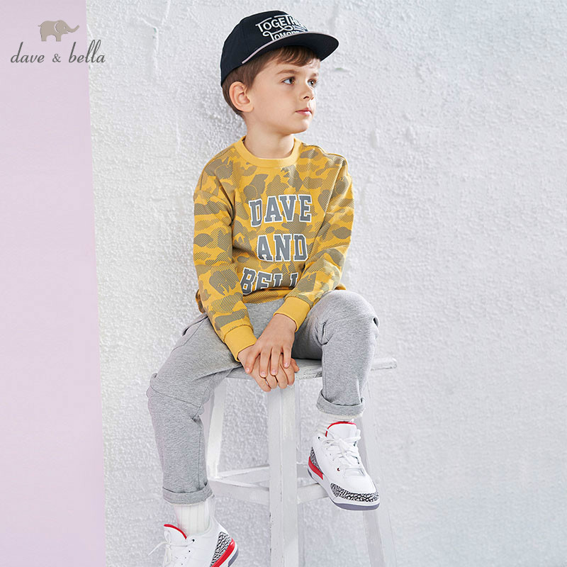 DBK9087 dave bella 5Y-13Y kids boys fashion pullover children long sleeve t shirts baby boutique handsome tops