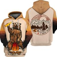 2019 3D Men Hoodie Zipper Long Sleeve Hooded Sweatshirt Bear Beer Fire Print Customize Street Style Unisex Zipper Hoodie