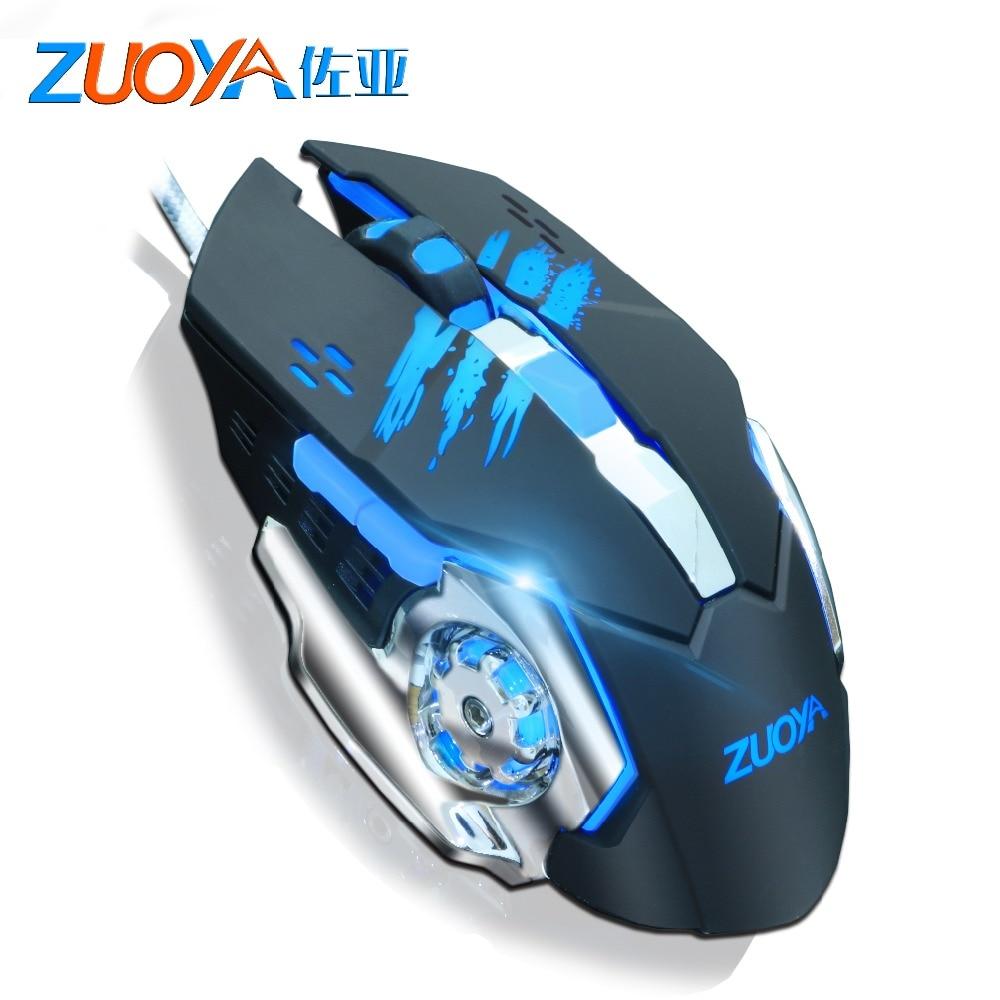 ZUOYA 6 Botões Cabo USB Wired Gaming Mouse 5500 DPI Mause Óptico LED Jogo Rato Para PC Computador Gamer Profissional