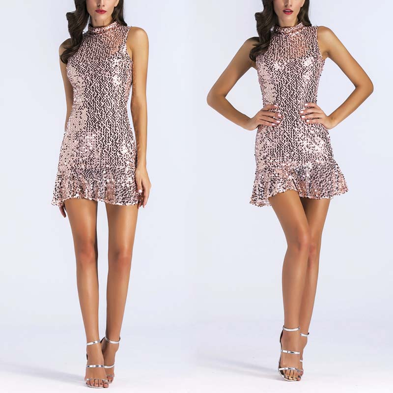Female Mini Sexy Dress Slim Sequines Pack Hip Irregular Hem Women Sequined Party Dress H9