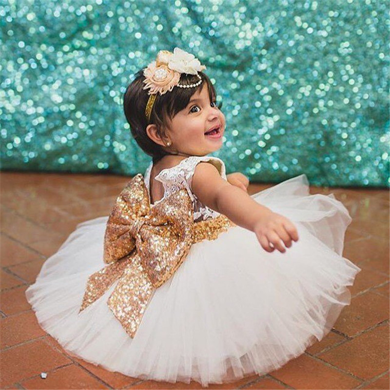 9fe5cf35ac Top Quality Fashion Baby Girl Sequins Big Bow Lace Princess Tutu Dress Girls  Kids Sequined Party Wedding Dresses Clothes-in Dresses from Mother   Kids  on ...