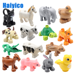 Farm Animals Big Building Blocks Accessories Pig Dog Cow Horse Crocodile Elephant Compatible with Duplos Zoo Children Toys gift(China)