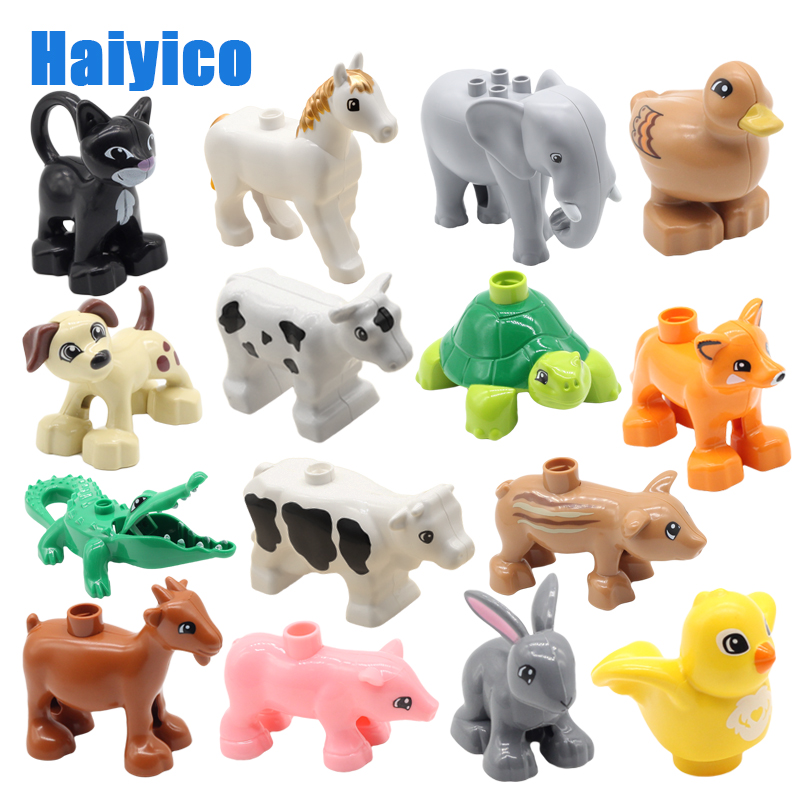 Big Particles Building Blocks Accessories Farm Animals Zoo Compatible Duplos Pig Dog Cow Horse Crocodile Elephant Children Toys
