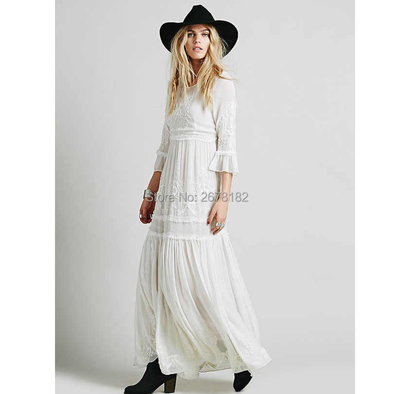 2018 new Bohemia embroidery maxi dress women's white ruffles elegant sweet long loose dress fashion party dresses