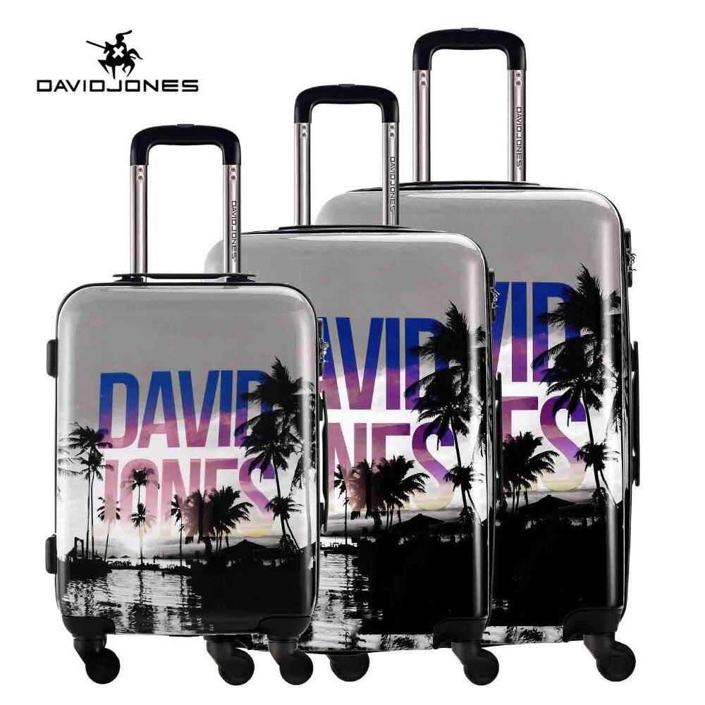 DAVIDJONES di corsa della ruota valigia trolley borsa spinner grande delle donne del sacchetto dei bagagli di rotolamento della ragazza del vestito dell'annata box case 3 pezzo tronco