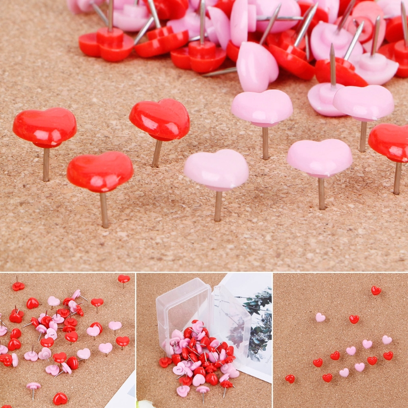 50 Pcs Heart Shape Plastic Quality Colored Push Pins Thumbtacks Office School