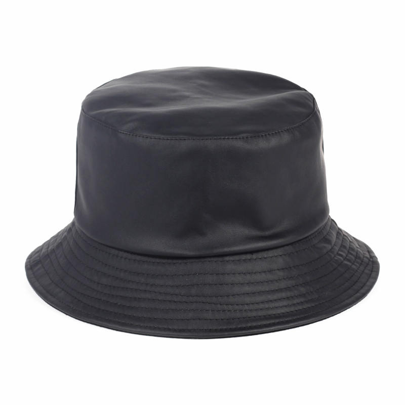 VORON New Solid Faux Leather Bucket Hat outdoor travel hat Women Casual  Flat bob Summer Hats 67348dfdcb