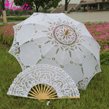 Outdoor Sun Protection Wedding Embrodiery Lace Parasol and Fan Set Party Guest Gifts