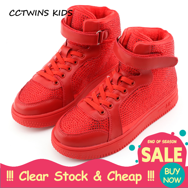 CCTWINS KIDS 2017 Toddler Fashion Stud Black Shoe Baby Girl Kid High Top Warm Sneaker Children Glitter Rivet Trainer F1911 gothic and lolita