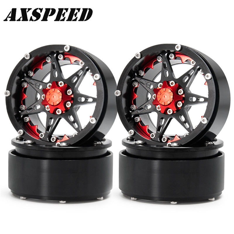 Climbing Car 2.2 Inch Metal Wheel #24 Black + Red For Wraith 90018 RC Rock Crawlers