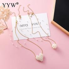 2019 Korean New Elegant Double Layer Heart Round Ball Simulated Pearl Necklace For Women Invisible Fish Line Choker