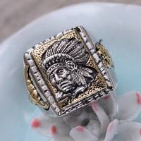 MetJakt Vintage 925 Sterling Silver Open Ring & Hand Carved Indian Chief and Bull Pattern for Personality Men's Punk Rings
