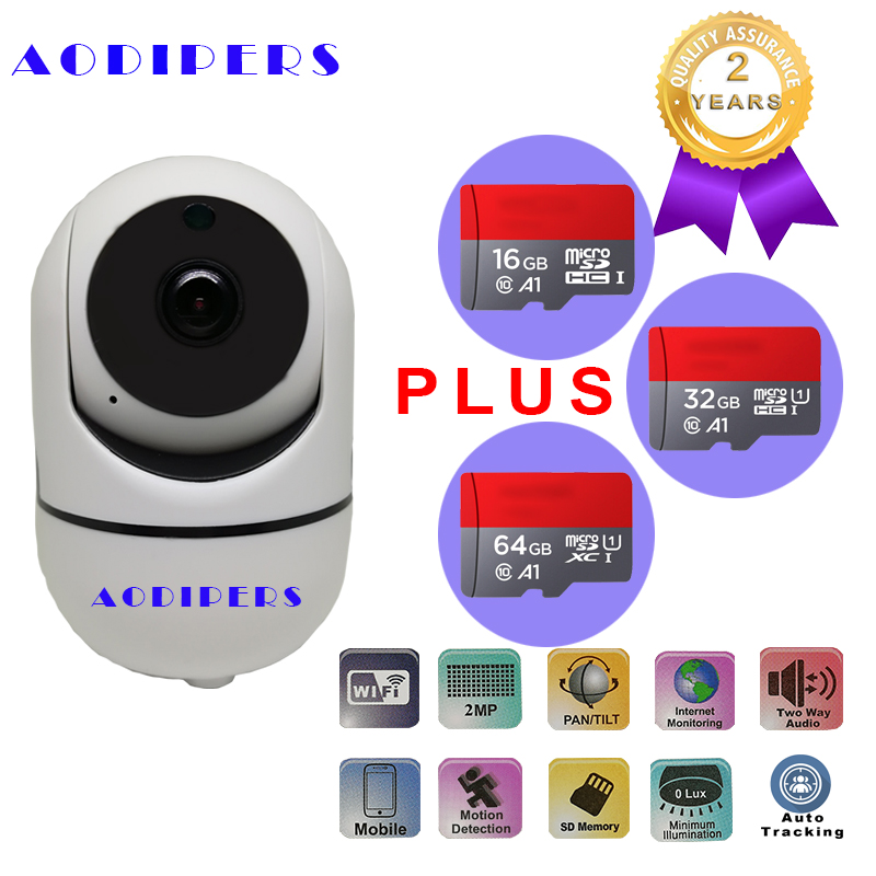 1080P Infrared IP Camera Wifi Supports 3.6mm Lens H.264 Onvif TF card auto track function for home security Camera Baby Monitor