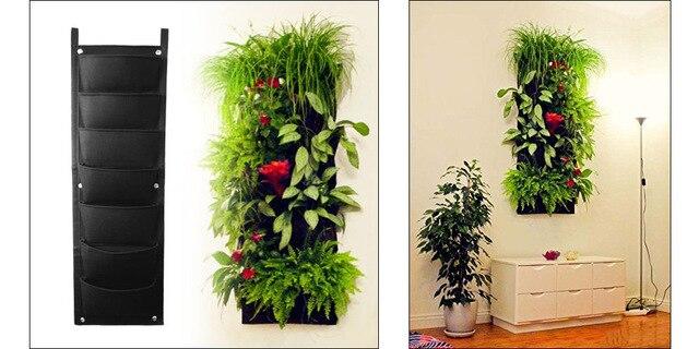 7 Pocket Container Bags Wall Hanging Vertical Felt Flower Pots Garden Plant Grow Planter Green Field