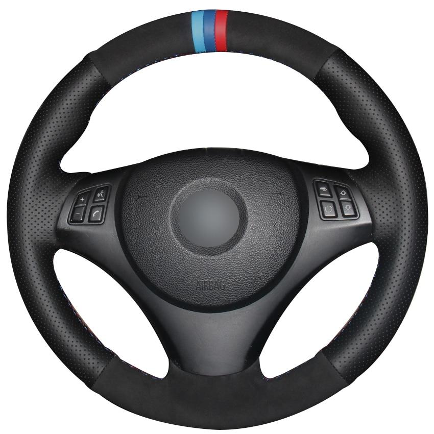 Black Natural Leather Black Suede Car Steering Wheel Cover for BMW E90 320i 325i 330i 335i