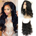 Pre Plucked 360 Lace Frontal Peruvian Virgin Human Hair Bodywave Full Frontal Closure Top 360 Lace Frontal Band Peruvian Hair