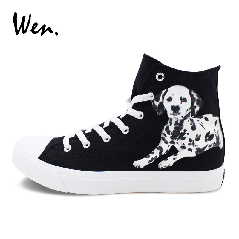 Wen Custom Design Hand Painted Shoes Pet Dog Spotty Dalmatian Sneakers Canvas Black High Top Skateboarding Shoes