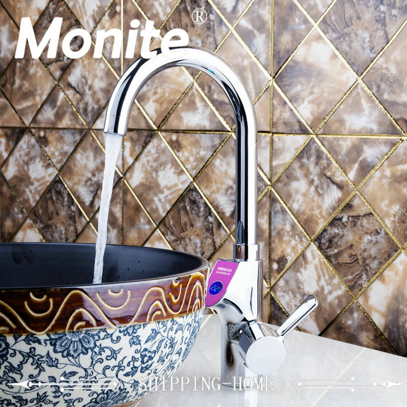 NEW Chrome Brass Bathroom Faucet  Sink Faucet Digital Display Temperature Vessel Tap Cold And Hot Mixer Water Tap chrome digital display basin sink faucet wall mounted bathroom vessel sink mixer tap with embedded box hot and cold taps