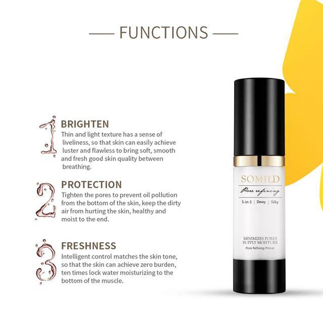 SOMILD 30ML Face Primer Makeup Base Oil-Control Pore Minimizing Matte Makeup Facial Foundation Primer Korean Cosmetics