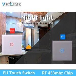 Image 5 - EU 標準 VHOME スマートタッチスイッチ 2 ギャング 1 ウェイ、ホワイトクリスタルガラススイッチパネルセンサーワイヤレス RF433Mhz リモート
