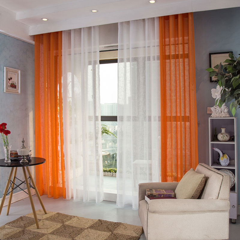 Buy 1 Panel Modern Sheer Curtains Window Decoration Solid Color Voile Curtain