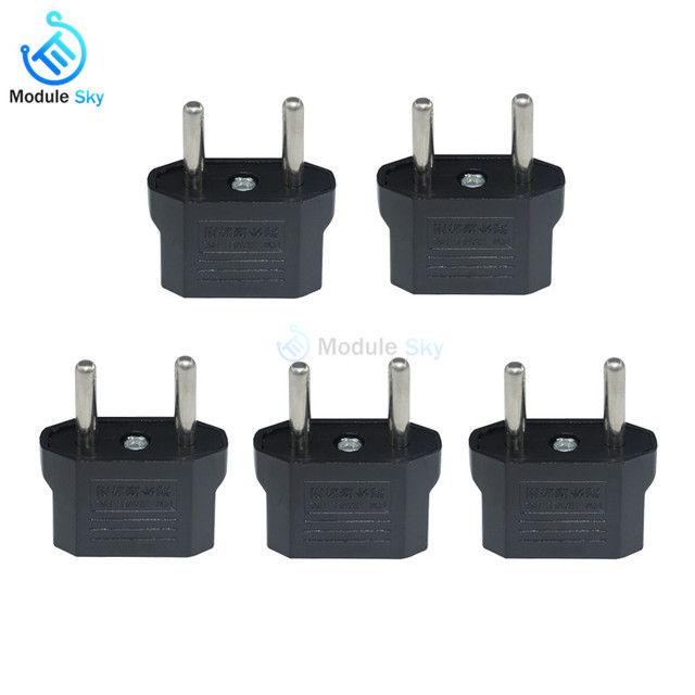 5Pcs High Quality US to EU Adapter Plug Travel Charger USA To Euro Europe Wall Plug AC Power Adaptor Outlet Converter Socket