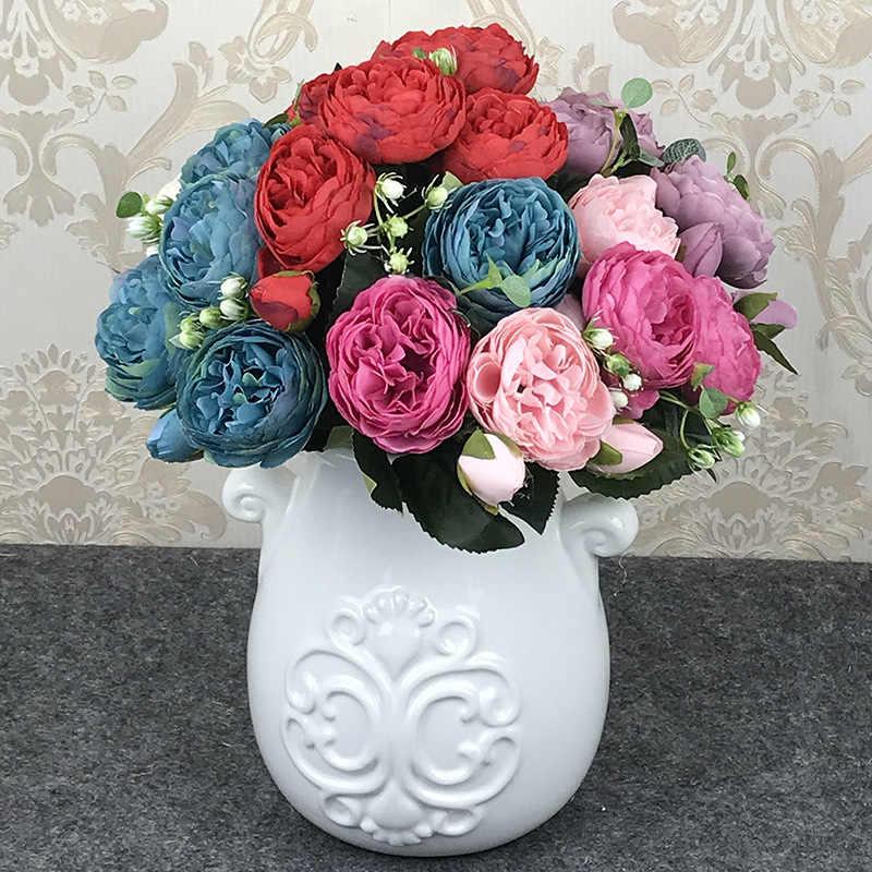 30cm Rosa peonía de seda artificial ramo de flores 5 cabeza grande y 4 Bud flores baratas falsas para el hogar Decoración de la boda en la puerta
