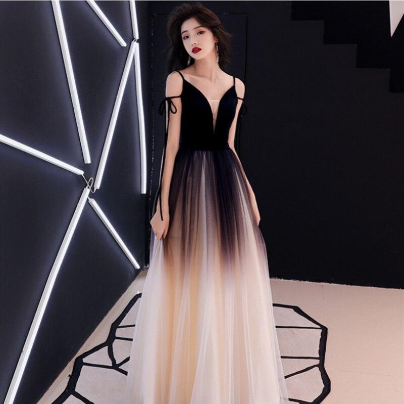 Sexy Robe De soirée femmes Long étage longueur robes De soirée 2019 nouveau diplômé couleur Tulle à lacets Robe De soirée Robe De Mariee