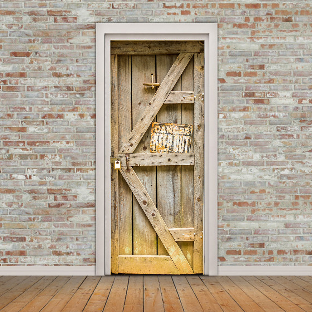 2pcs/set 3D Warning Signs Dangerous Wooden Doors DIY Door Art Mural Stickers Creative Large Wall Sticker Wallpaper Art Poster