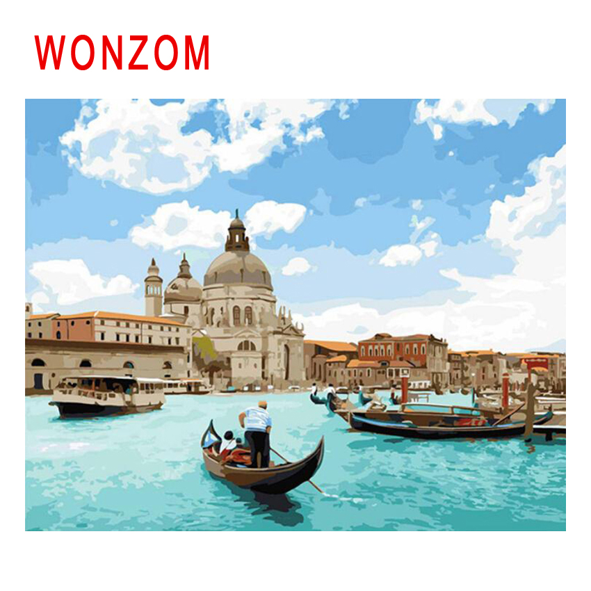 WONZOM Sea City Diy Painting By Numbers Venice Oil Boat Cuadros Decoracion Acrylic Paint On Canvas Modern Wall Art Home