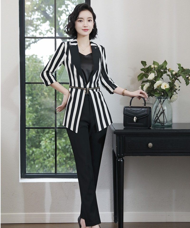 Fashion Striped Uniform Styles 2019 Spring Summer Business Suits With Jackets And Pants Half Sleeve For Ladies Office Pantsuits