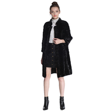 Mink Fur Coat Female Natural Fur Coats Real fur coat For Women 95CM waistcoat simple Black mink Parka Women`s Genuine Fur Coat