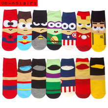 Downstairs Super Heros Boat Socks Superman Batman Captain Arrowman Bruce Spiderman Ironman Patterns Invisible Lowcut Calcetines