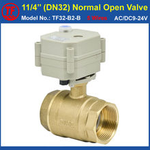 "5 Wires Normal Open Valve AC/DC9-24V BSP/NPT 11/4"" DN32 Electric Motorized Valve With Manual Override 29mm Bore 2 Way Female CE"