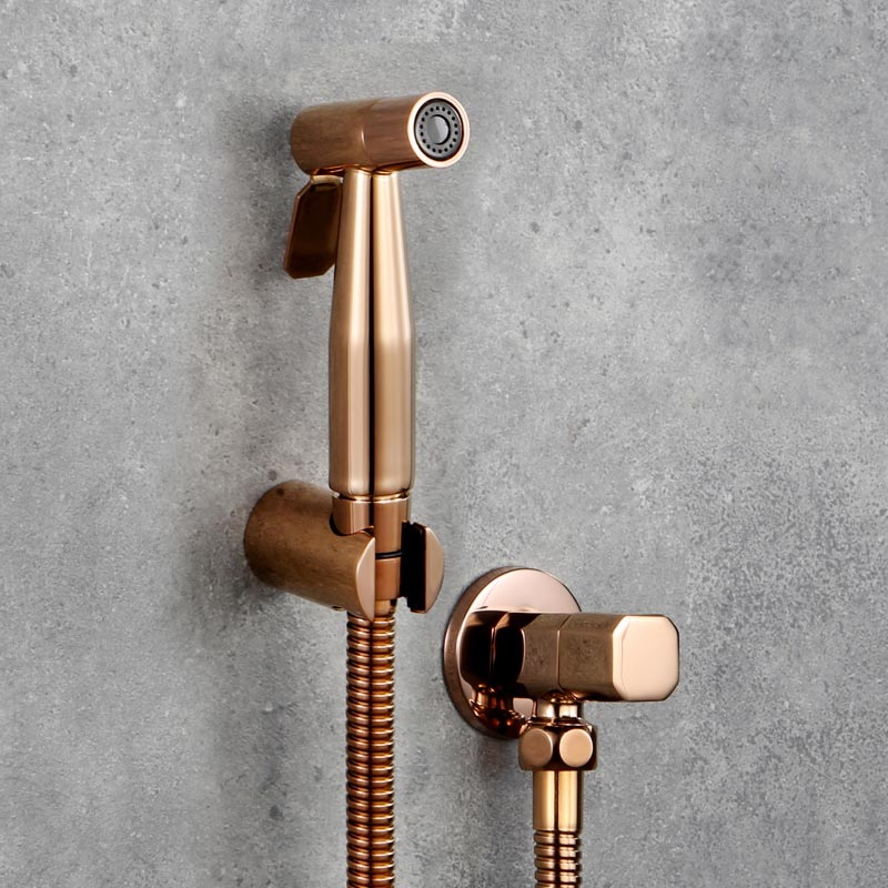цена на Rose Gold Toilet Hand Held Bidet Diaper Sprayer Shower Shattaf Bidet Spray Douche Kit Jet 304 Stainless Steel Shower faucet