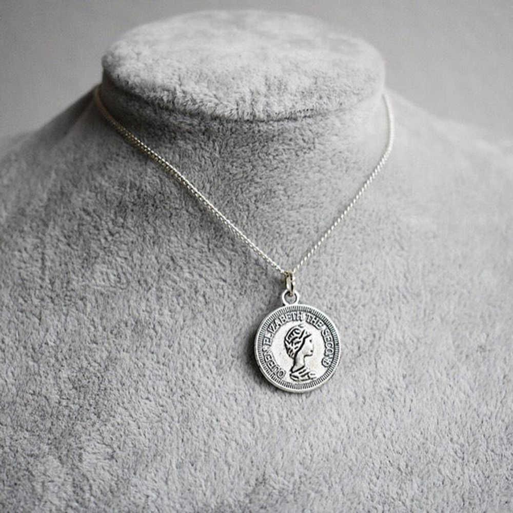 HOMOD złoty srebrny kolor okrągły moneta naszyjnik dla kobiet prosty portret urok naszyjnik Choker naszyjniki prezenty